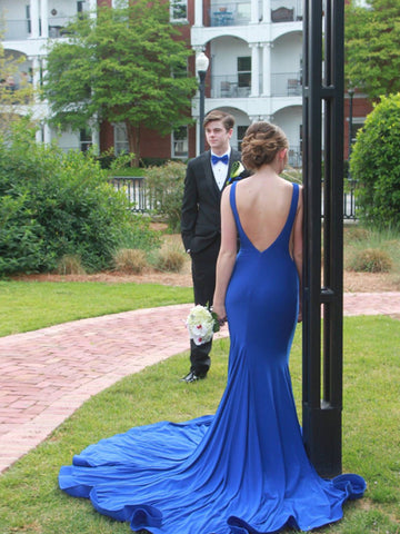 Simple Long Prom Dress, Backless Prom Dress with Deep V Back Formal Evening Dress MK570