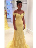 Sexy Off-the-shoulder Long Prom Dress Short Sleeve Yellow Prom Dress/Evening Dress MK573