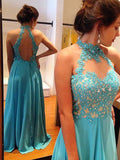 A-line Chiffon Appliques Backless Prom Dress/Evening Dress MK577