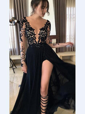 Black Prom Dress, Sexy A-line Long Sleeve Prom Dress/Evening Dress MK578