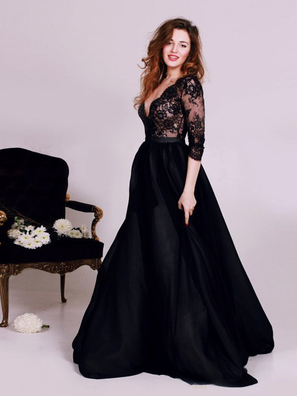 Black Dress, 2017 Long Prom Dress Long Sleeve A-line Prom Dress/Evening Dress MK582