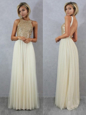 Sexy prom dress, Backless Dress Chiffon Long Prom Dress A-line Prom Dress/Evening Dress MK585