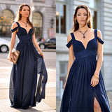 Chiffon prom dress, 2017 Ruffle Dress Flower V-neck A-line Prom Dress/Evening Dress MK596