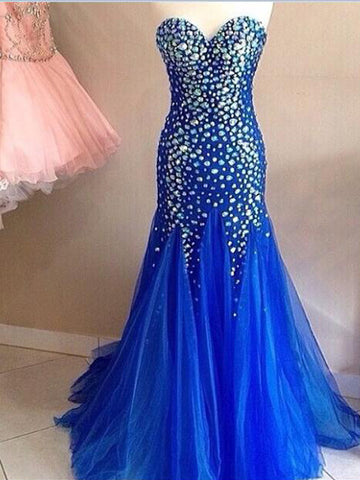 Sweetheart prom dress, Rhinestones Evening Dress, Mermaid Prom Dress, Long Prom Dress/Evening Dress MK599