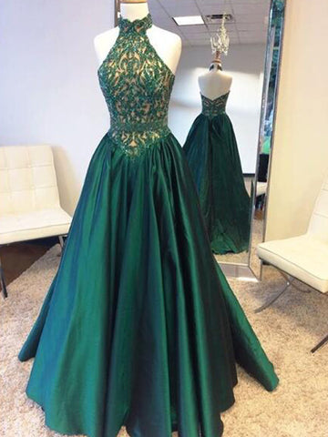 Halter Long Prom Dress Strapless A-line Beading Prom Dress/Evening Dress MK604