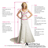 Chic A-line Spaghetti Straps V neck Applique White Prom Dress Long Formal Dress #AMY3272