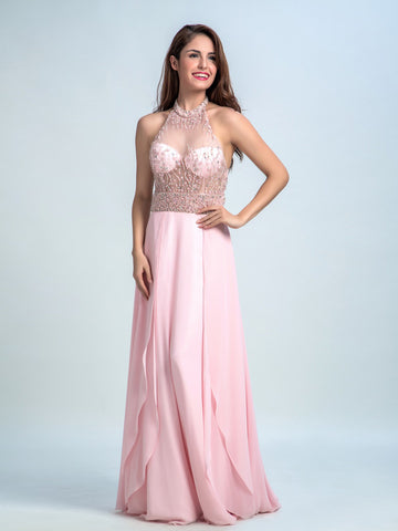 Pink Prom Dresses Long, A-line High Neck Floor-length Chiffon Prom Dress/Evening Dress AMY033