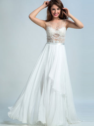 Pretty Prom Dresses Long, A-line Scoop Floor-length Chiffon White Prom Dress/Evening Dress AMY032