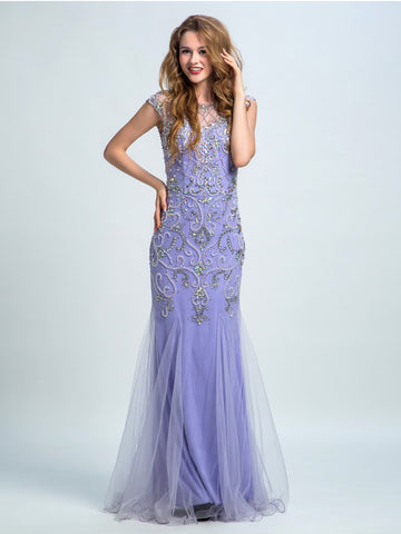 Prom Dresses 2017, Trumpet/Mermaid Scoop Floor-length Tulle Prom Dress/Evening Dress #AMY002
