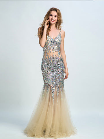 Trumpet/Mermaid Spaghetti Straps Floor-length Prom Dress/Evening Dress AMY003