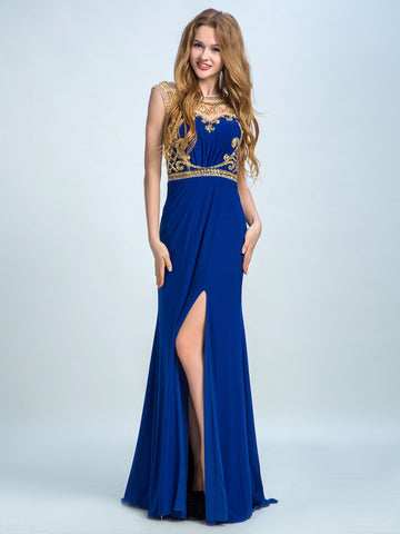Prom Dresses Beautiful, Sheath/Column Scoop Floor-length Chiffon Prom Dress/Evening Dress AMY038