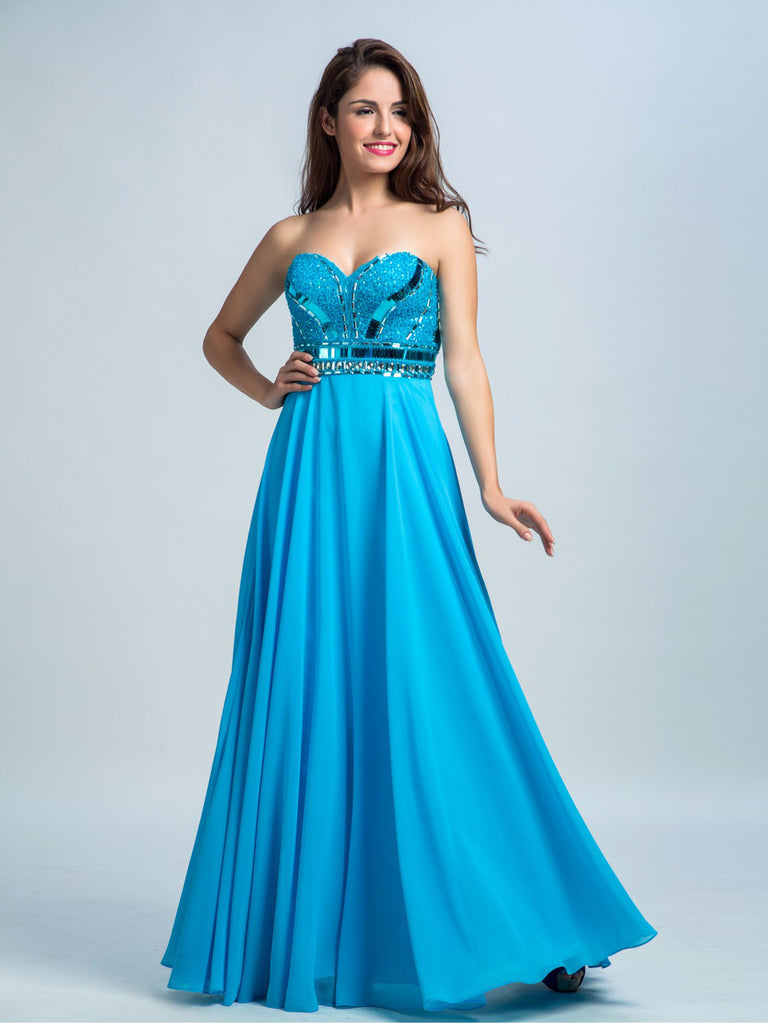 Prom Dresses Blue, A-line Floor-length Chiffon Prom Dress/Evening Dress AMY029