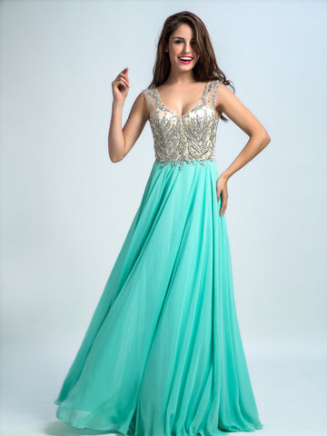 Prom Dresses Long, A-line Floor-length Chiffon Prom Dress/Evening Dress AMY030