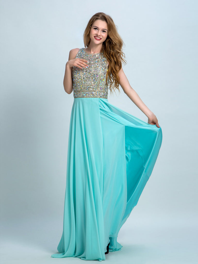 Prom Dresses Long, A-line Scoop Floor-length Chiffon Prom Dress/Evening Dress AMY006