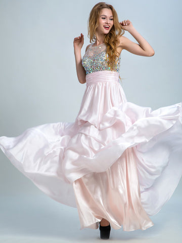 Prom Dresses Long, A-line Scoop Floor-length Chiffon Prom Dress/Evening Dress AMY035