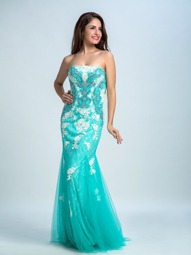 Prom Dresses Long, Trumpet/Mermaid Strapless Floor-length Tulle Prom Dress/Evening Dress AMY040