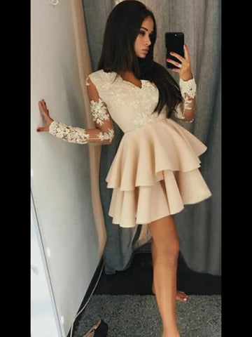 A-line Long Sleeve Homecoming Dress Short Prom Dresses Juniors Homecoming Dresses kmy1345