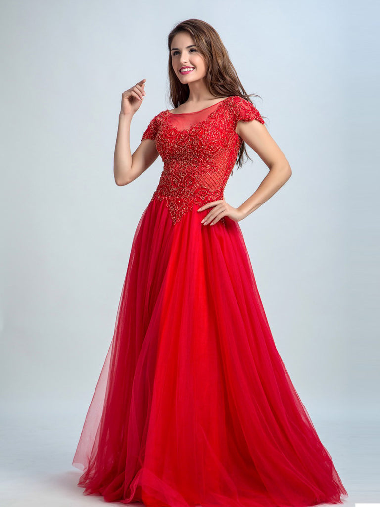 Red Color A-line Scoop Short Sleeve Floor-length Tulle Pretty Prom Dress/Evening Dress #AMY043