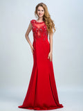 Red Prom Dresses, 2017 Sheath/Column Scoop Floor-length Stain Prom Dress/Evening Dress AMY024