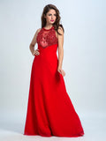 Red Prom Dresses, A-line Scoop Floor-length Chiffon Prom Dress/Evening Dress AMY013