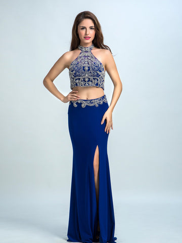 Royal Blue Prom Dresses, 2017 Sheath/Column Halter Floor-length Chiffon Prom Dress/Evening Dress AMY023
