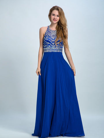 Royal Blue Prom Dresses, A-line Scoop Floor-length Chiffon Prom Dress/Evening Dress AMY031