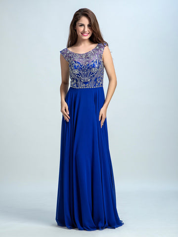 Royal Blue Prom Dresses, A-line Scoop Floor-length Chiffon Prom Dress/Evening Dress AMY037