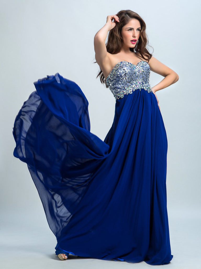 Royal Blue Prom Dresses, A-line Sweetheart Floor-length Chiffon Prom Dress/Evening Dress AMY015