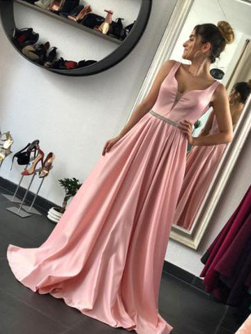 2017 Chic A-line Straps Pink Simple Satin Modest Prom Dress/Evening Dress SKA001