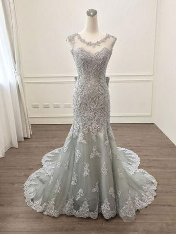 2017 Chic Trumpet/Mermaid Scoop Silver Appliques Tulle Modest Prom Dress/Evening Dress SKA002