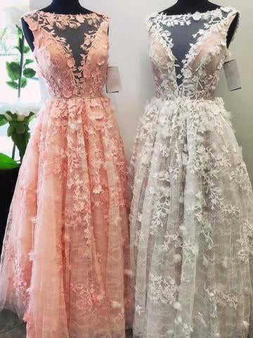 2017 Chic A-line Bateau Pink Appliques Tulle Modest Prom Dress/Evening Dress SKA003