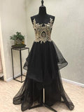 2017 Chic A-line Scoop Black Appliques Tulle Asymmetrical Prom Dress/Evening Dress SKA004