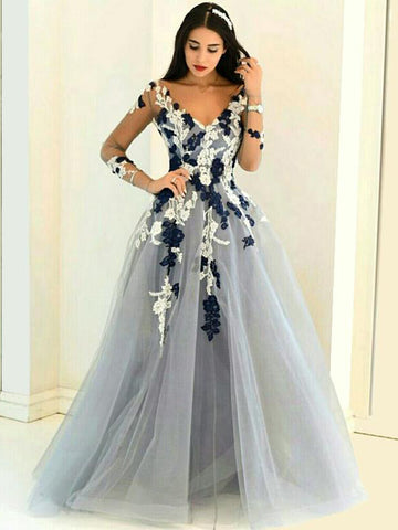 Charming A-line V-neck Floor-length Tulle Prom Dress Evening Drsess SKA010