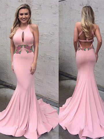 Chic Trumpet/Mermaid Scoop Pink Chiffon Modest Prom Dress Evening Gowns SKA013