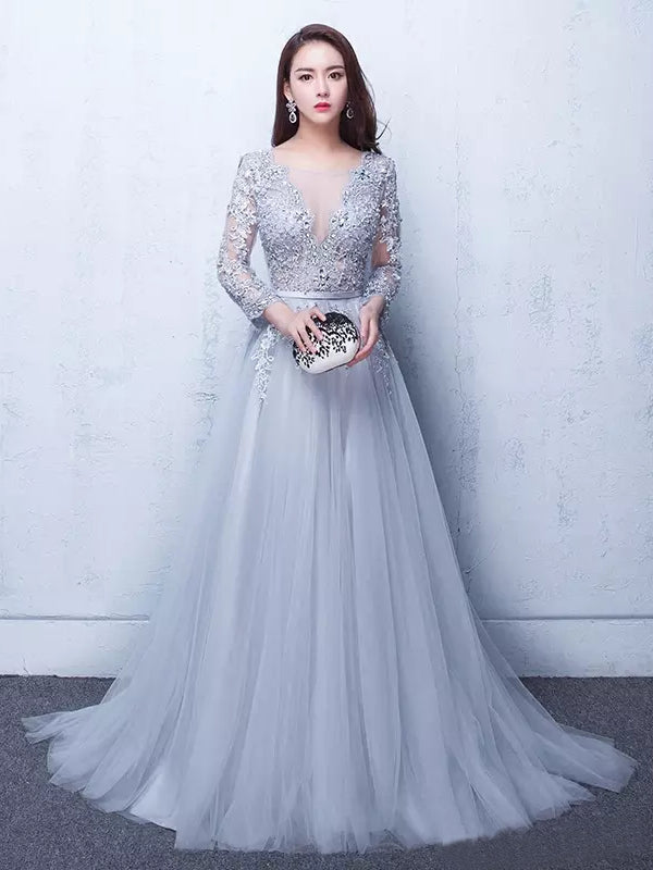 Charming A-line Scoop Floor-length Tulle Prom Dress Evening Drsess SKA015