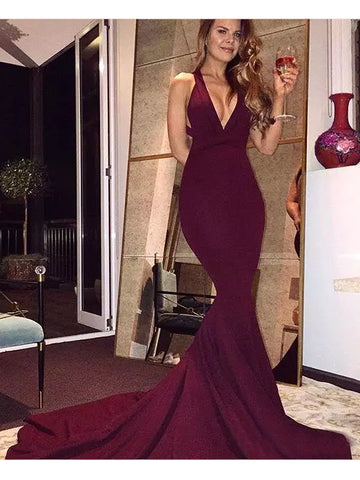 Trumpet/Mermaid V-neck Burgundy Satin Sexy Prom Dress Evening Drsess SKA016