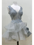 Chic Homecoming Dress Short A-line Tulle Gray Sleeveless Cheap Prom Dress SKA021