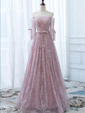 A-line Off-the-shoulder Tulle Pink Lace Prom Dress Evening Drsess SKA022
