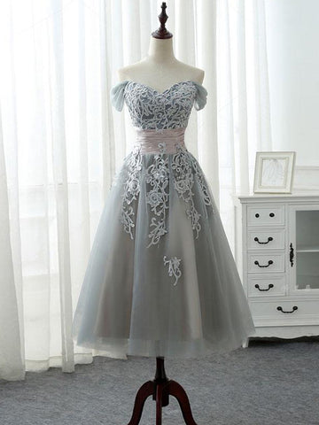 Off-the-shoulder Homecoming Dress Short A-line Tulle Gray Sleeveless Cheap Prom Dress SKA023