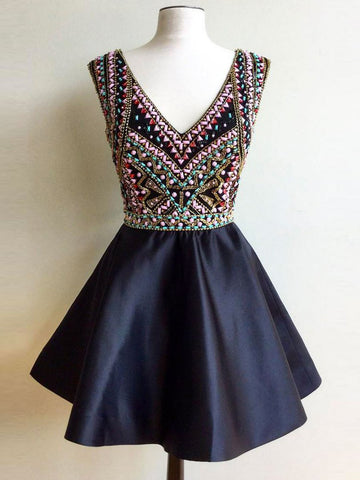 Dark Navy Homecoming Dress A-line V-neck Short Prom Dress With Beading SKA024