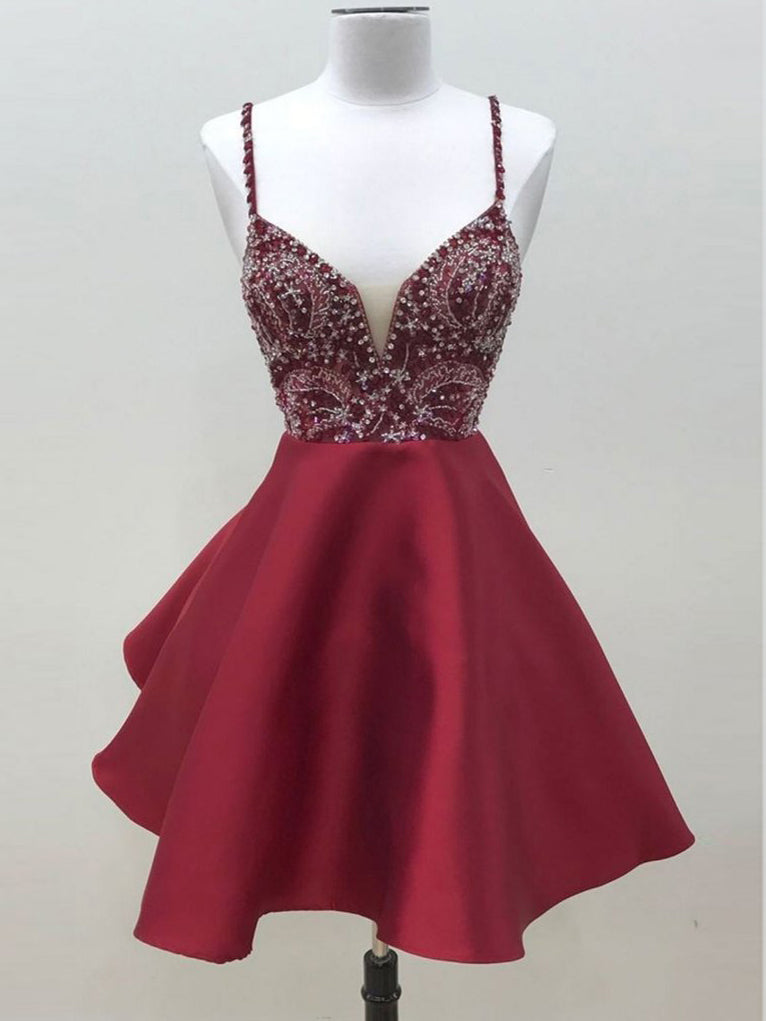 Burgundy Homecoming Dress A-line Spaghetti Straps Short Prom Dress With Beading SKA025
