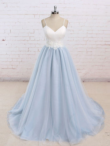 Simple A-line Spaghetti Straps Chic Blue Tulle Prom Dress Evening Gowns SKA026