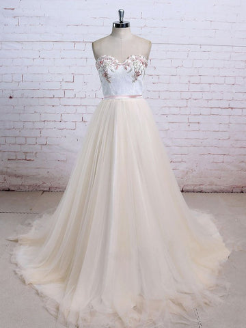 Chic A-line Sweetheart Floor Length Chic Lace Tulle Prom Dress Evening Gowns SKA027