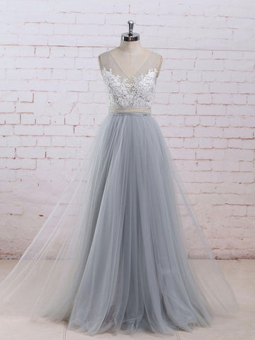 A-line V-neck Tulle Blue Appliques Prom Dress Evening Drsess SKA028