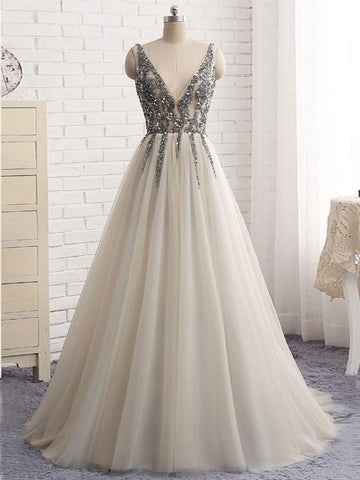 A-line V-neck Floor-length Tulle Prom Dress Evening Drsess With Beading SKA031