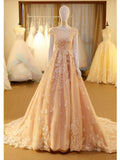 A-line Ball Gowns Scoop Floor-length Tulle Appliques Prom Dress Evening Drsess SKA034