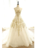 A-line Ball Gowns Sweetheart Floor-length Tulle Appliques Prom Dress Evening Drsess SKA035