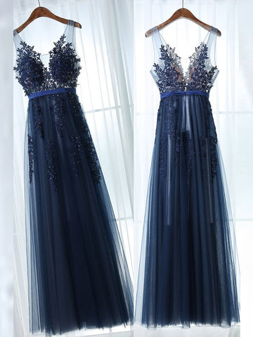 2017 Modest Long Prom Dress Lace Tulle V-neck Dark Navy Cheap Evening Dress SKA037