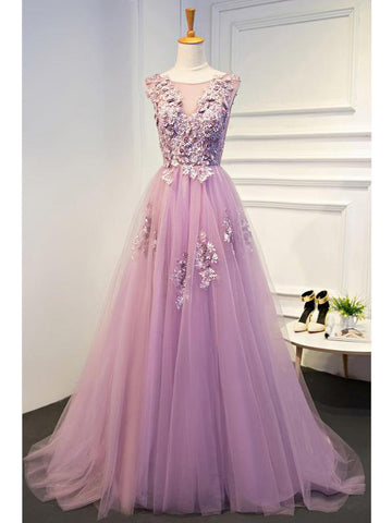 Chic Prom Dress Long Appliques Tulle Scoop Lilac Cheap Evening Gown Dresses SKA040