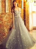 Charming A-line V-neck Floor-length Tulle Prom Dress Evening Drsess SKA041